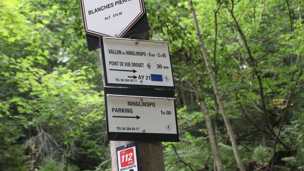 ninglinspo wandeling route bord