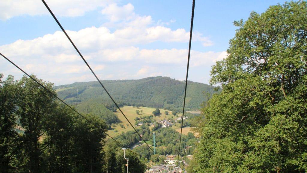 Plopsa Coo uitzicht vanaf de kabelbaan