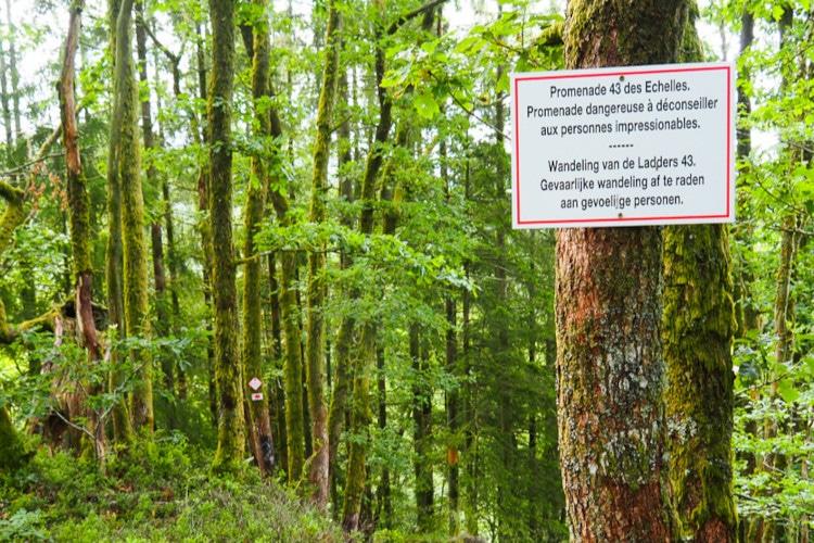 Waarschuwingsbord Laddertjeswandeling in Rochehaut 5.5 km